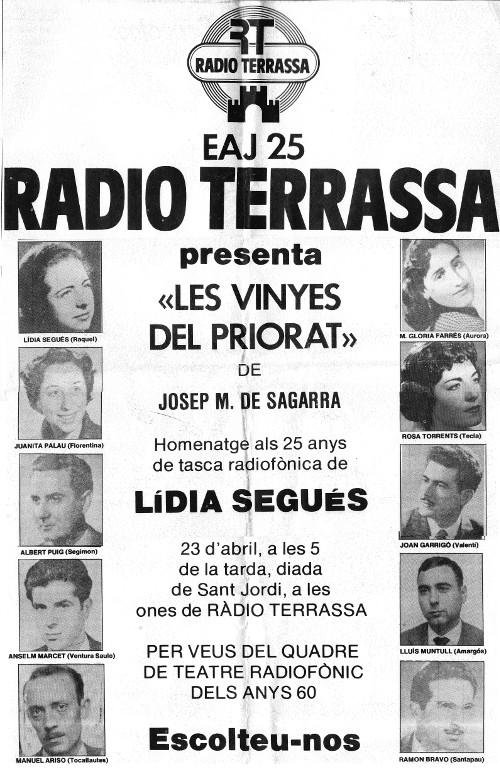 """Cartell d'anunci de """"Les vinyes del Priorat"""" representada el 1983 en motiu de l'homenatge a Lidia Segués"""